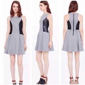 Club Monaco Gray Faux Leather Accent Dress Sz 2